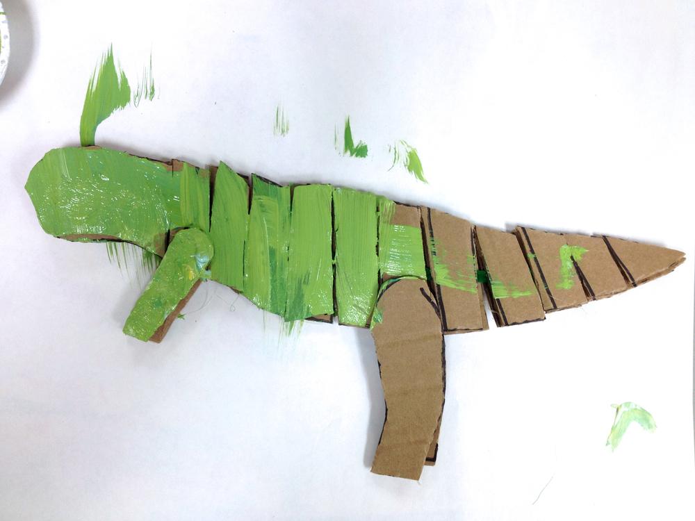 Beginning paint job for the tyrannosaurus.