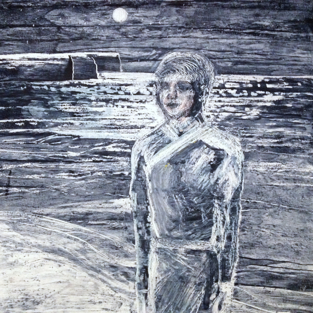 At Night on a White Sand Beach, Oil pastel and ink