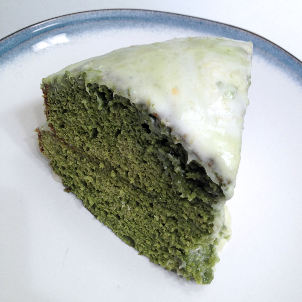 This perspective shows the deep mossy green characteristic of matcha powder desserts.