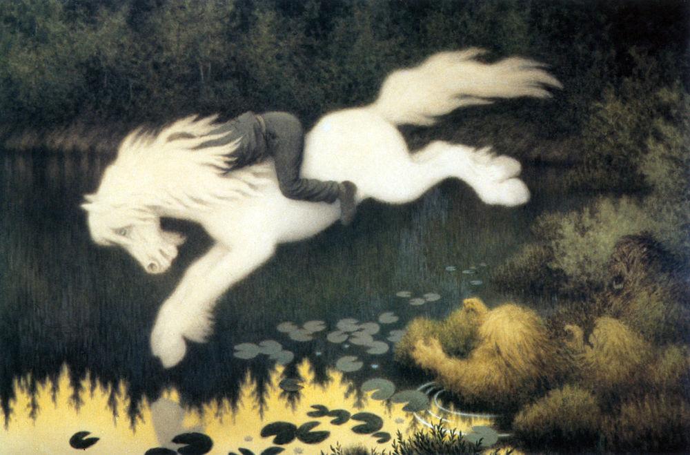 Gutt på hvit hest  (Boy on white horse)