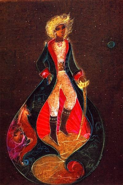 Susan Seddon Boulet could tell the entire story of the Little Prince in one complete illustration. Look at the interior points, her unique non-linear narrative style enchants viewers today.