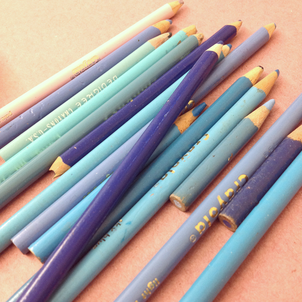 Wayne Thiebaud style sketching tools: blues and lavendars.