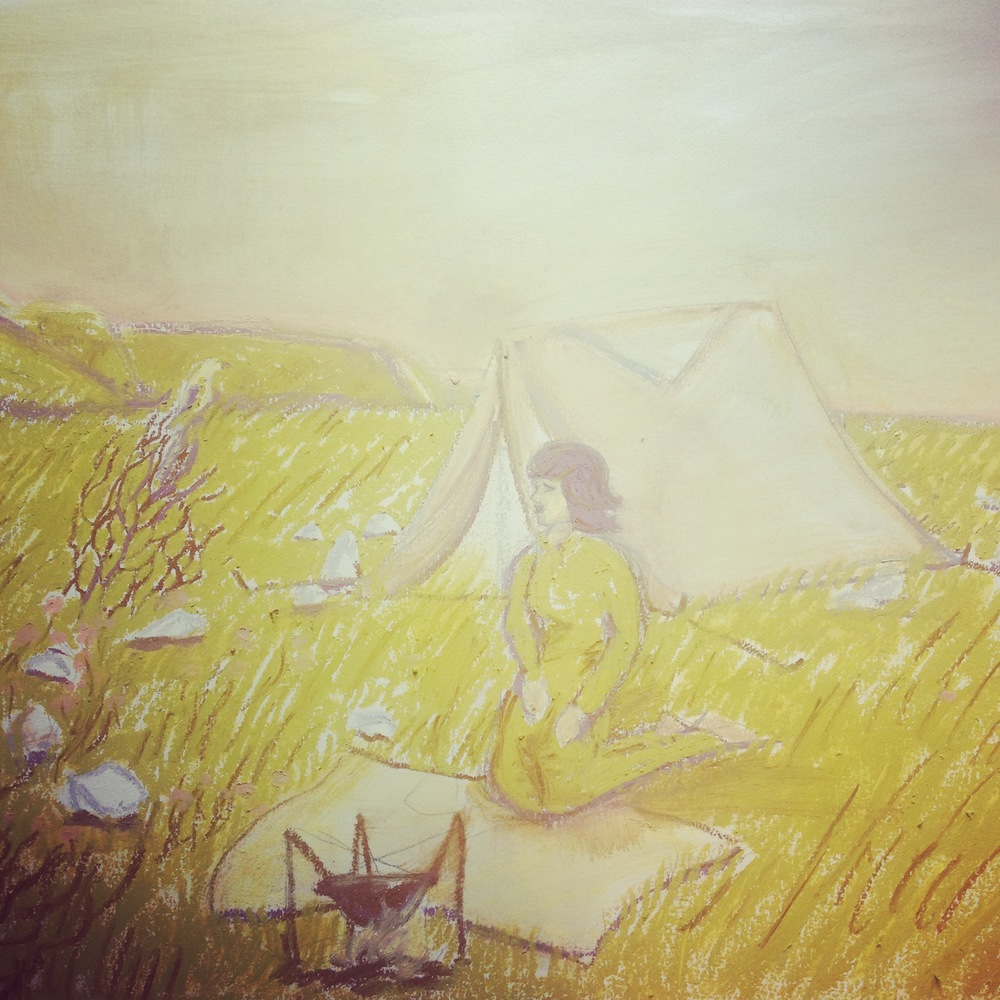 Sophia's Tent in the Valley, Oil Pastel