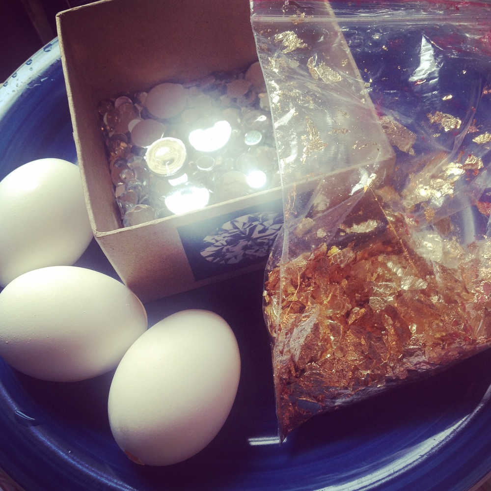 Eggs, gold-leaf, and crystals