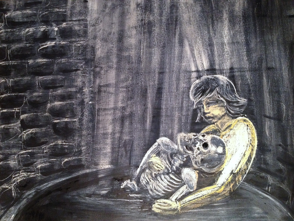 At the Bottom of a Well, Oil pastel and ink