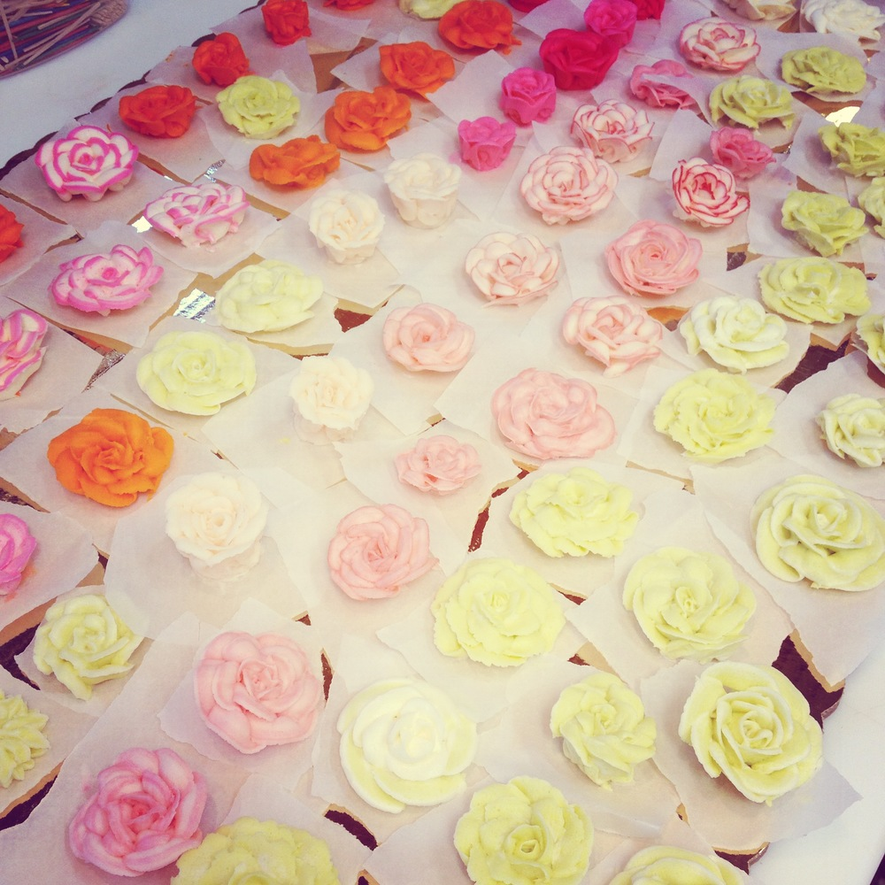 Selection of colored butter-cream roses, April 2015