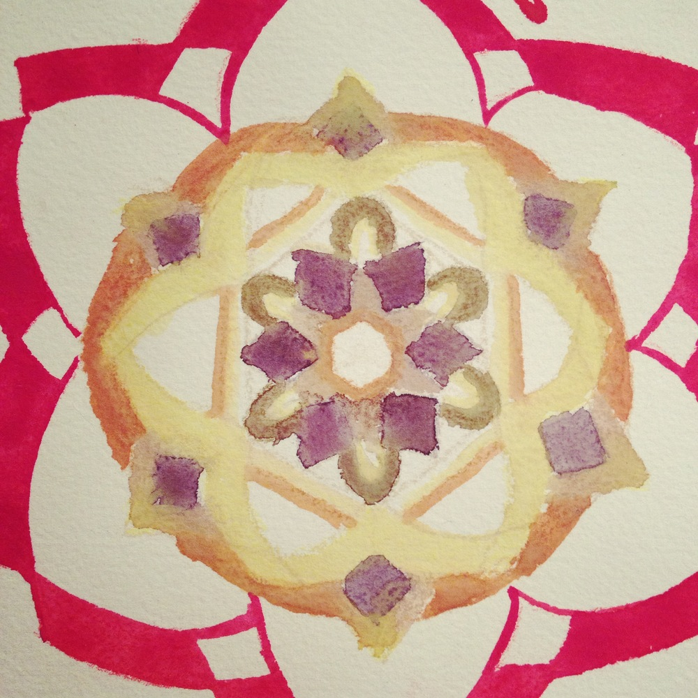 Mandala, Watercolor and colored pencil