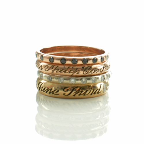Gold Engraved Name Ring Custom with Diamonds