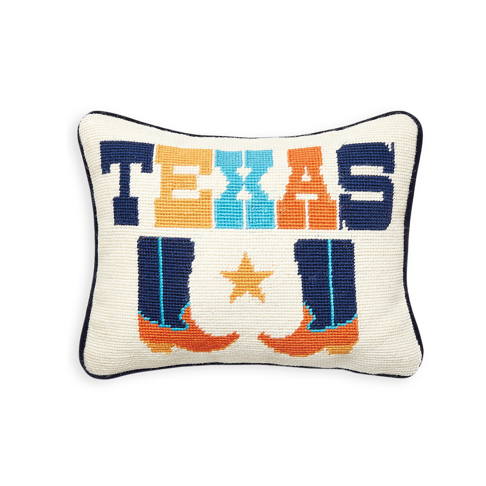 Texas Jet Set Needlepoint Pillow by Jonathan Adler