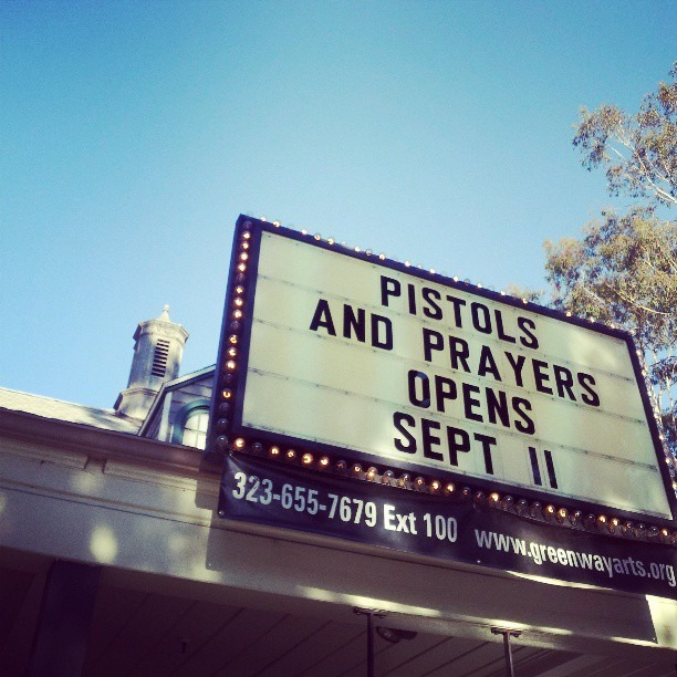 Pistols & Prayers runs for 12 Weeks in LA beginning 9/11 2013. New scenes and  music! Get tix at airbornetickets.com now! #latheater #HipHop #iselyfe  #wewontstop #greenwayarts #hihater:)