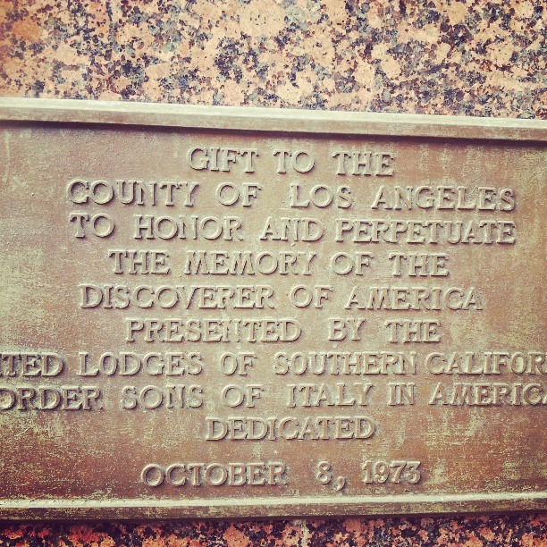 """This is on a PERMANENT Colombus memorial by my crib. Peep where it says """"perpetuate"""""""
