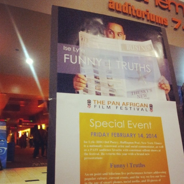 The promo poster for the live taping of #FunnyTruths in LA is looking stubby tonight! Its hella big! Support your homie and get tix at Paff.org Its going to be great! February 14 9pm! #iselyfe