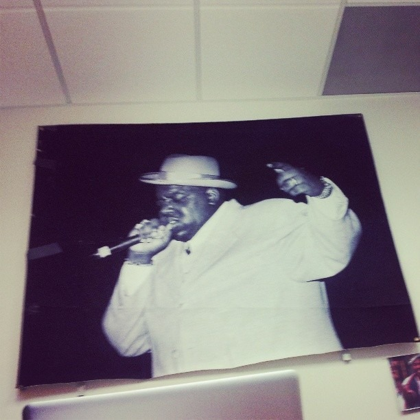 Here at #revolttv offices in Hollywood working it out. Beautiful image of #Biggie the great on the wall.