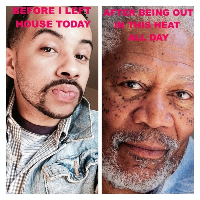 It was 200 degrees in LA today. So hot. Mui Caliente. Roasting and toasting. I was victimized by the sun! We are living in the devils fart. #heatwave #jokes #iselyfe #morganfreeman #imnotwearingclotheseveragain