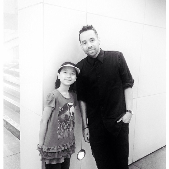 "Was at #moca sitting alone and the sweetest young girl walks up on me and asks me a million questions about what I was drawing, reading, etc. Her mother and siblings joined us and I learned they're visiting from Taiwan. ""Can I take a picture with you sir?"", she asked. Yep! As long as I can have one too. #coolkid"