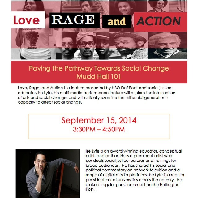 Yo I'm giving a performance lecture at #USC on September 15th called Love Rage and ACTION on art and activism. It'll be a great time. Come out if you're in the area. #actionbeyondwords #HipHop #hiphopeducation #iselyfe #losangeles