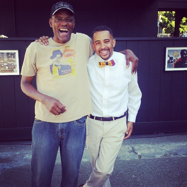 Oakland hero, icon, and lesser Greg Hodges and I sharing a laugh at the exhibit today