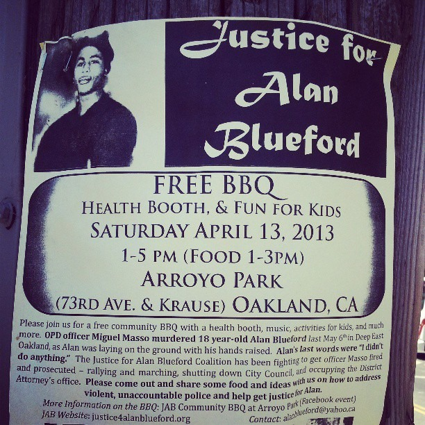 Resistance its happening everyday in East Oakland. #Justice for #AlanBlueford