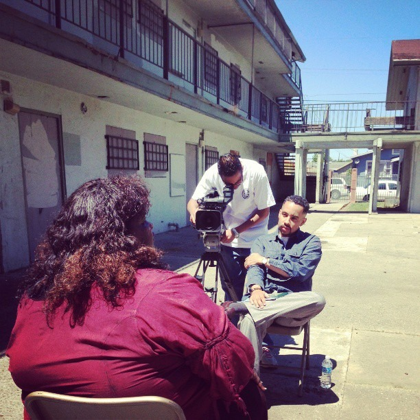 Interviewing former 'Greenside' resident, Mama Norma. Now living in another city, his was her first time returning to the now condemned public housing site in 10 years. She shed tears and told stories of community, love, drug abuse and violence as she gave us an oral history. Brighter Than Blight opens June 21st in East Oakland on 77th and Bancroft