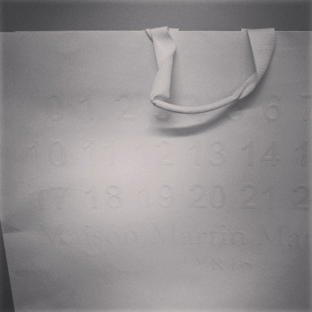 maison martin margiela shopping bags look like albino multiplication tables