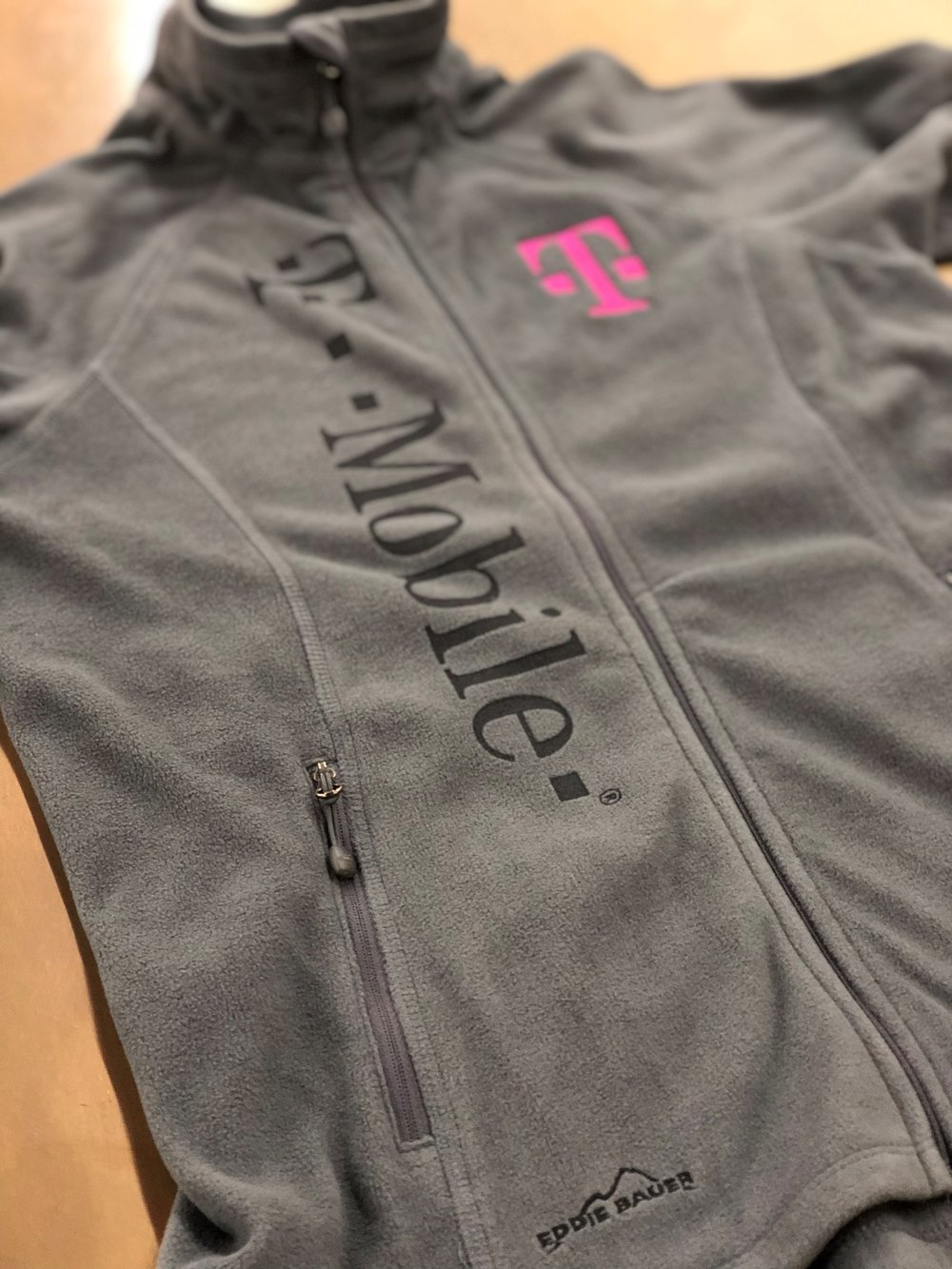 Embroidery and Laser Etching On Eddie Bauer Fleece Jacket for T-Mobile