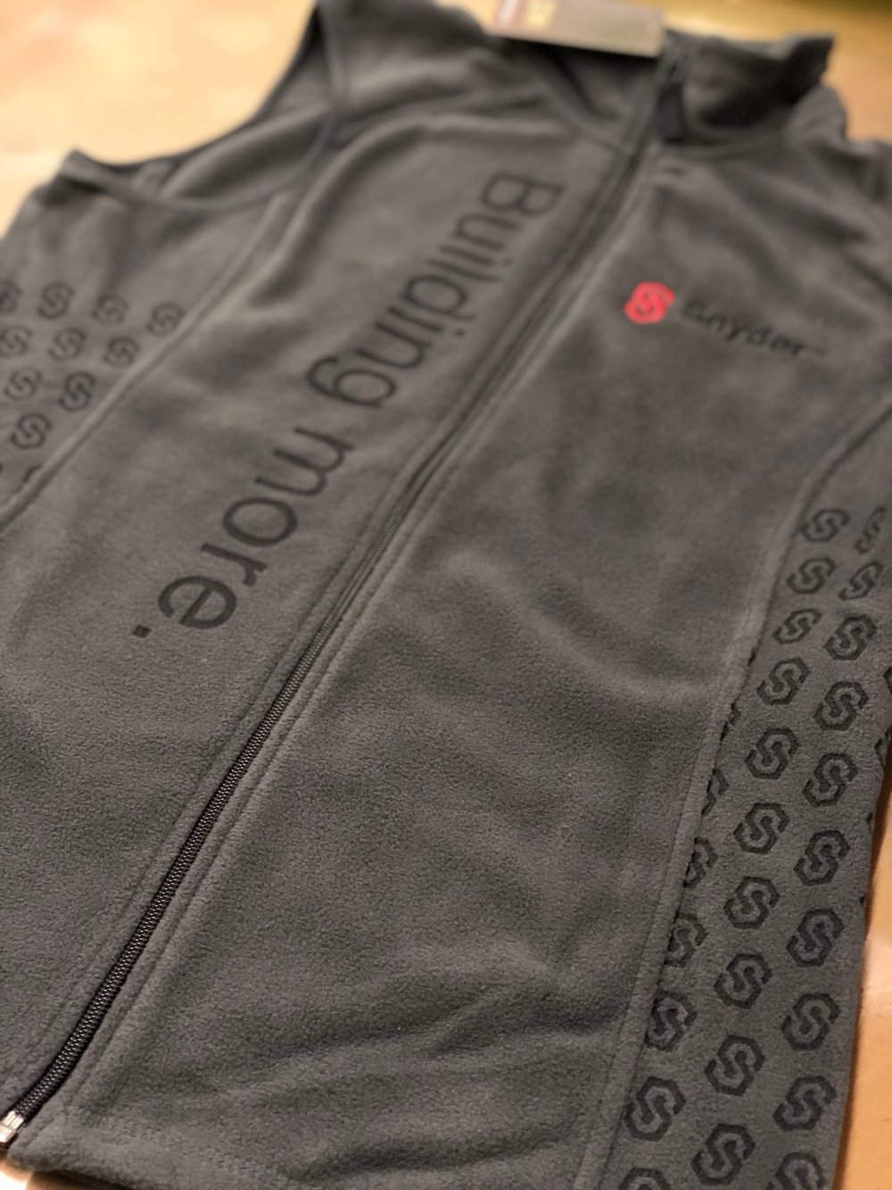 Laser Etching and Left Chest Embroidery on Fleece Vest for Snyder Roofing