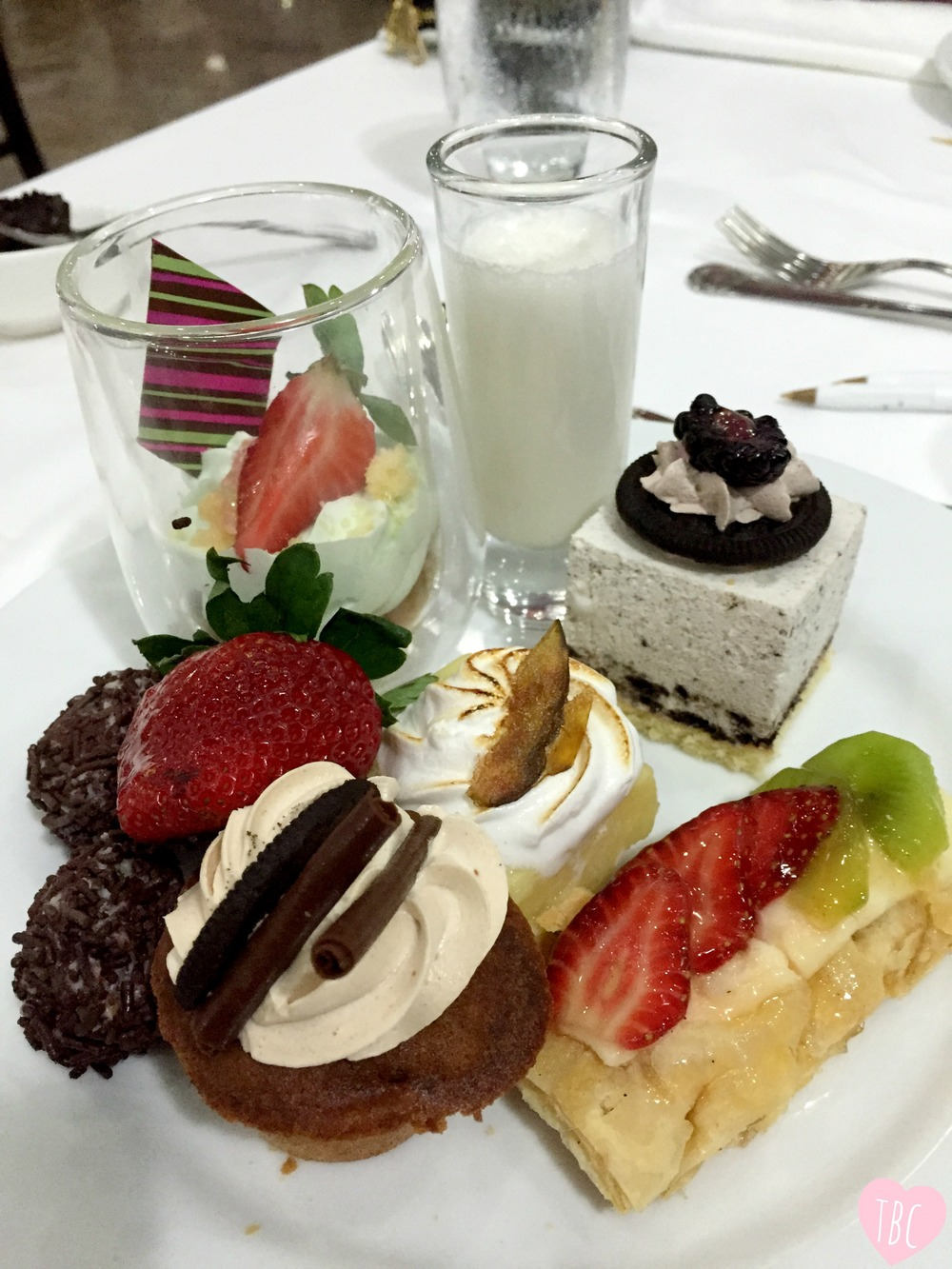 Dessert bars can prove dangerous to any healthy diet. First you're only trying one pastry, but it quickly turns into a full plate of sweet treats. Go to the bar with the intentions of coming back with a full plate...to share with the entire table. Try to only taste test each sweet!