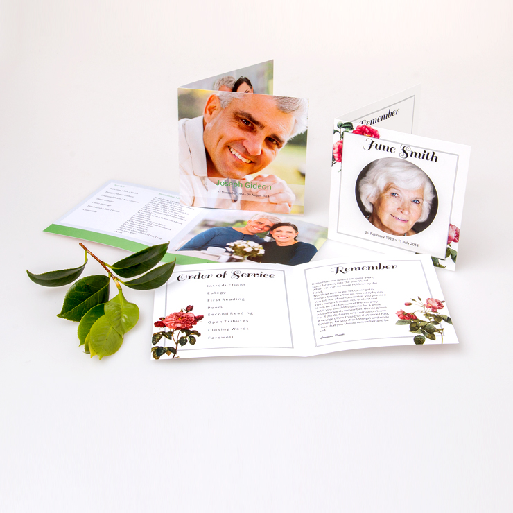 Square format funeral stationery