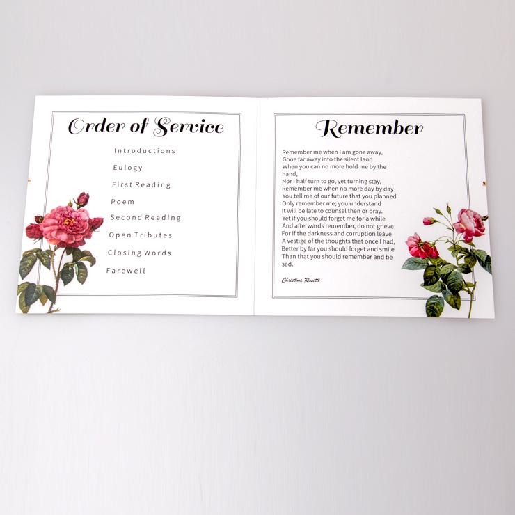 Funeral service sheet inside