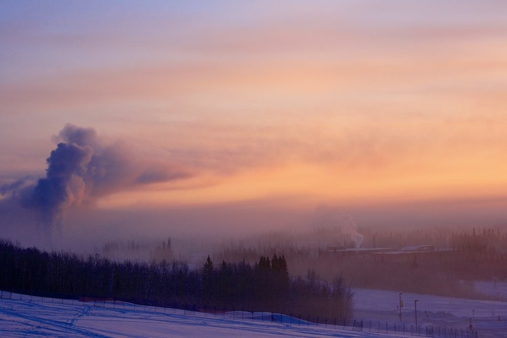 Pollution over Fairbanks in 40 below weather