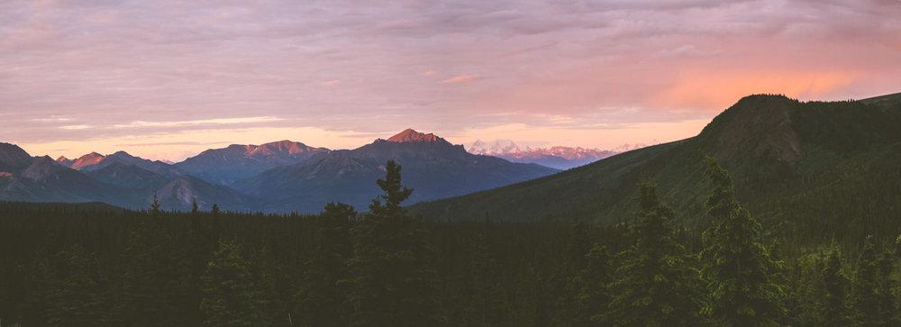 Solnedgång i Denali National Park, Alaska