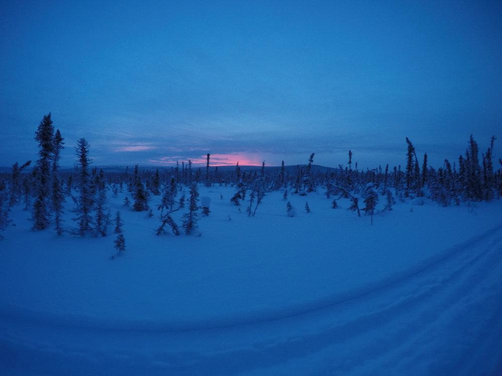 Soluppgången som börjar runt 9.30