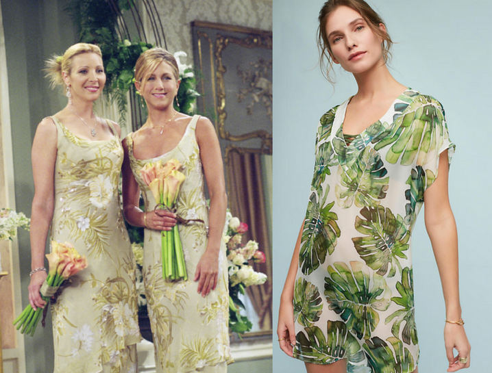 leaf print - Rachel and Pheobe rocked it for Moncia's wedding in 2001, fast forward 16 years later and leaf print is having a BIG MOMENT. From wallpaper, cell phone cases, trending house plants and now on your dresses, banana leaf and fiddle leaf ferns are the plant of the season!Dress on the right is a sold-out look from manhattan designer @shosanna