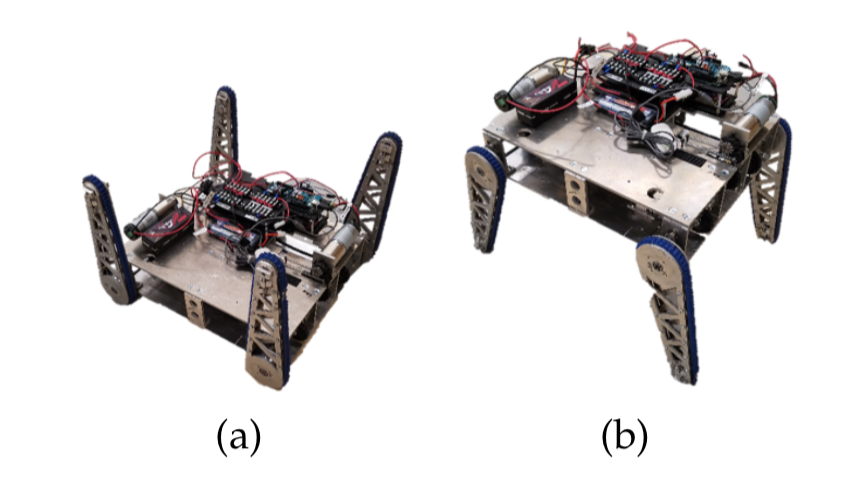 FIG 1.  The robotic platform developed for traversing both rough and even terrain. (a) A standard skid-steered configuration that allows it to travel normally. (b) An elevated configuration used to raise sensors' eye levels.