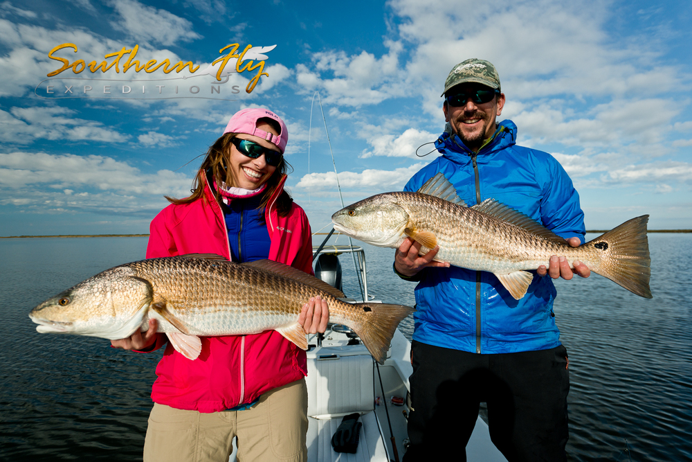 Fly-Fishing-New-Orleans-Louisiana-Marsh-Redfish-Double
