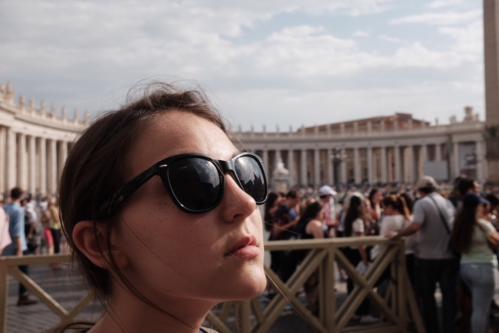Sydney contemplating in St Peters square.