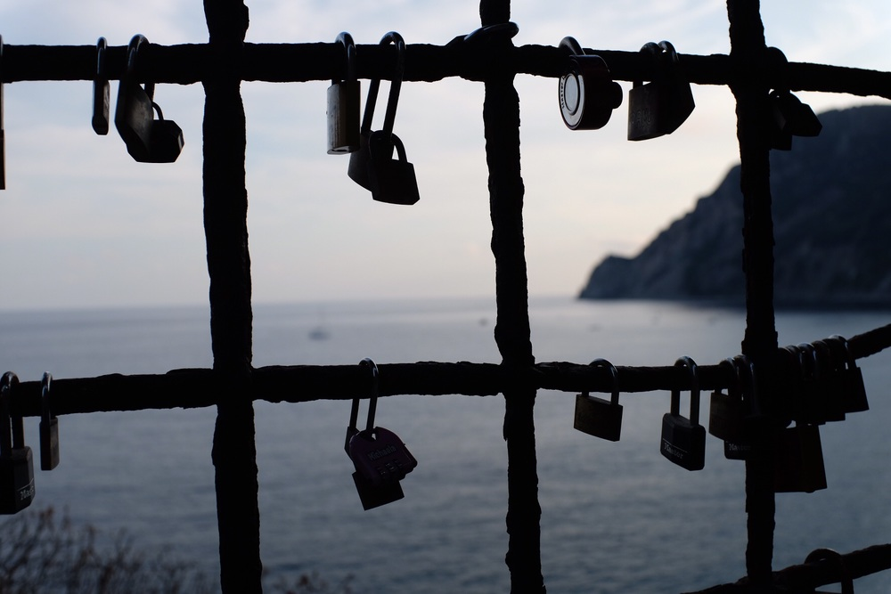 Lovers' locks high above the Ligurian Sea