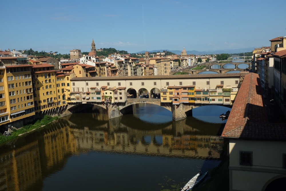 Ponte Vecchio bridge from Uffizi second floor