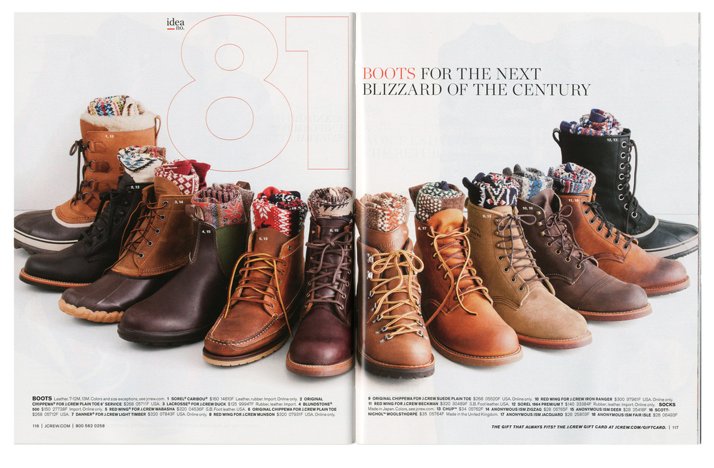 Assorted boot collaborations for J Crew