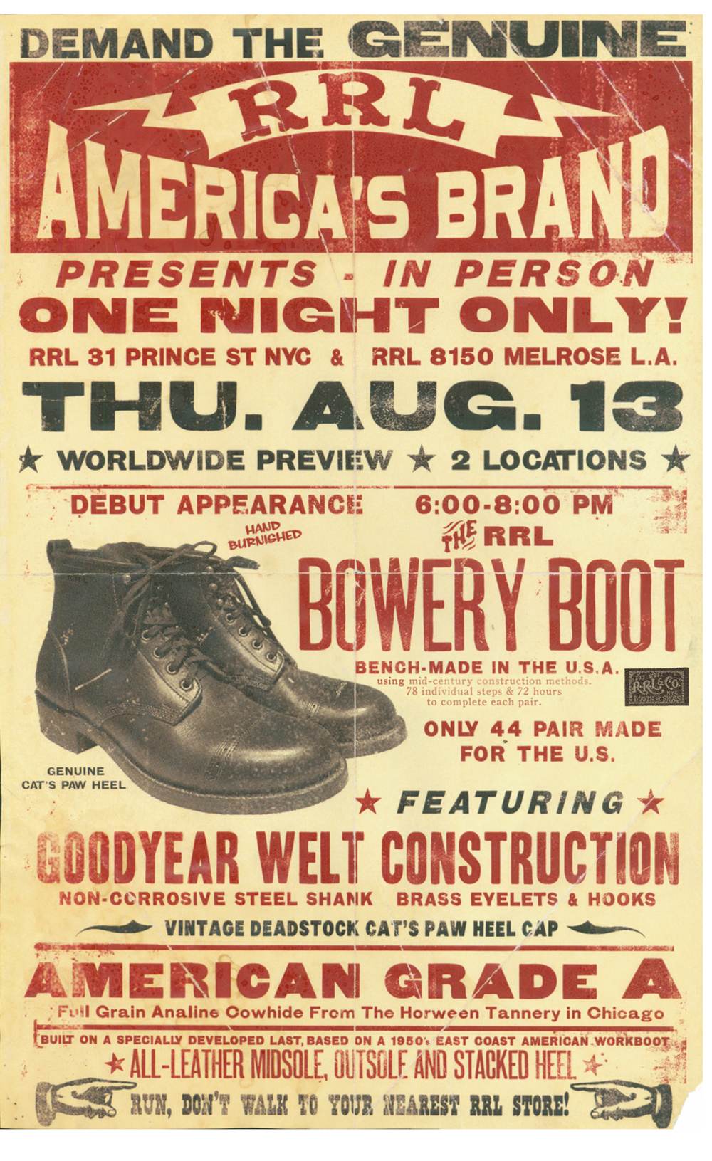 RRL Bowery Boot event poster