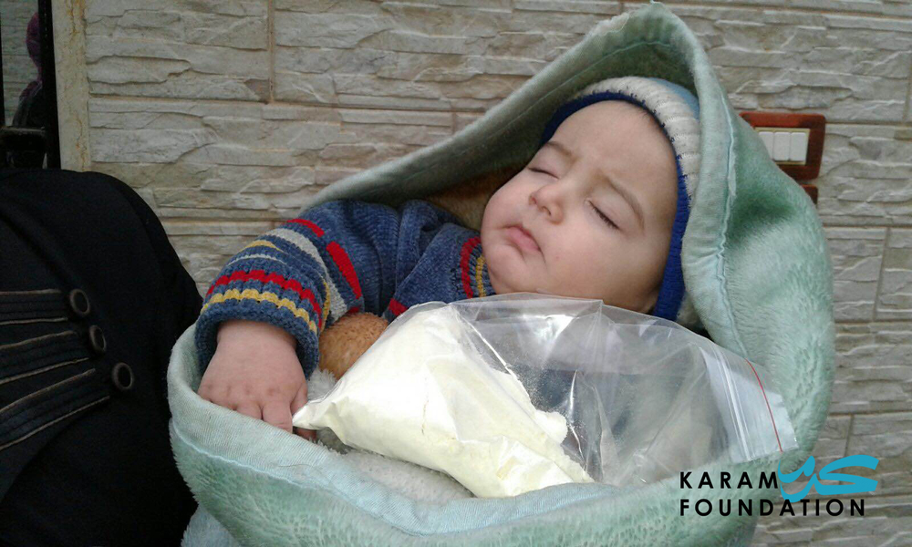Infant formula distribution in Madaya, January 2016