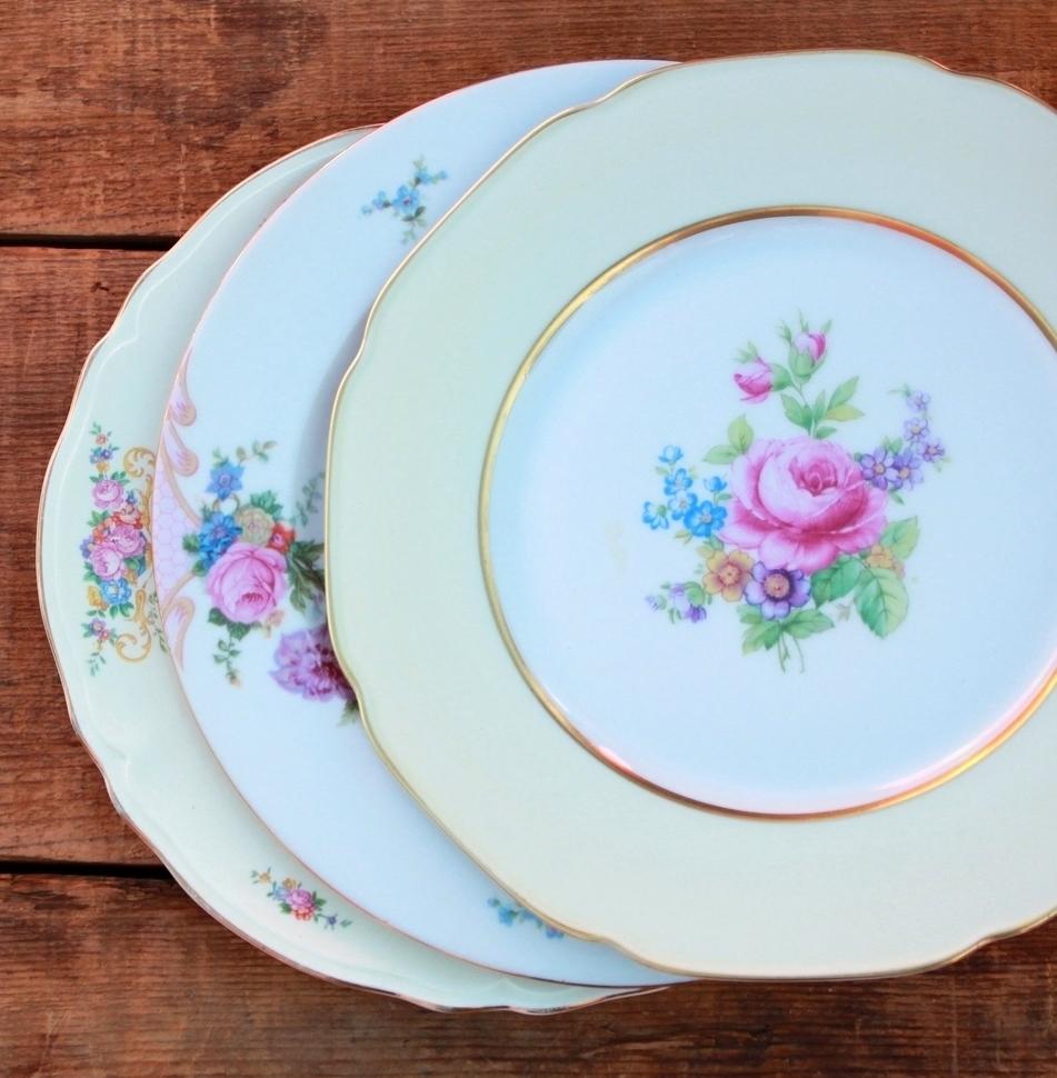 Golden Floral Dinner Plates