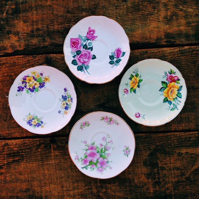 Golden Floral Tea Saucers