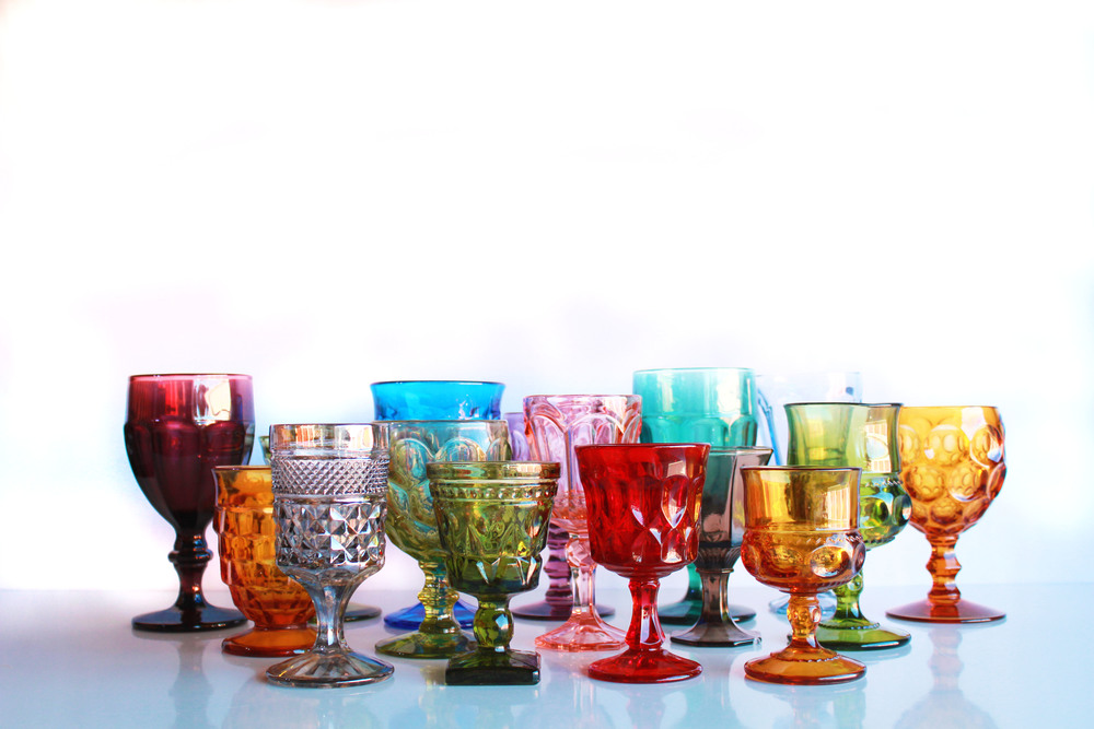 Rainbow Colored Goblets
