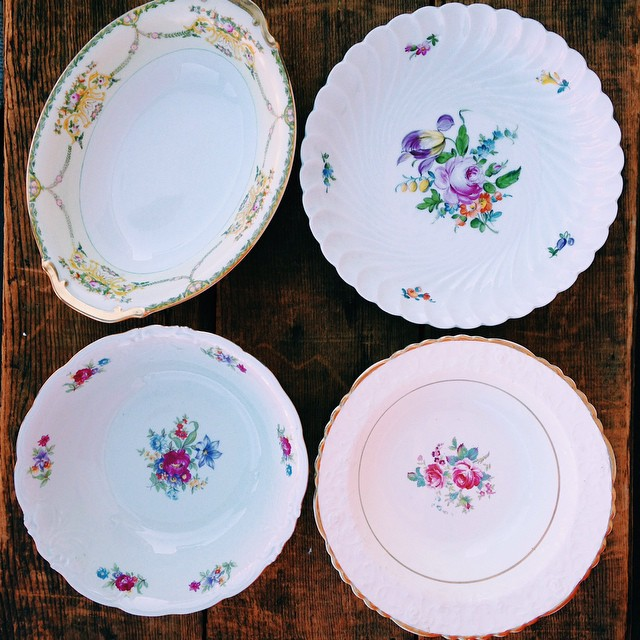 Golden Floral Serving Bowls