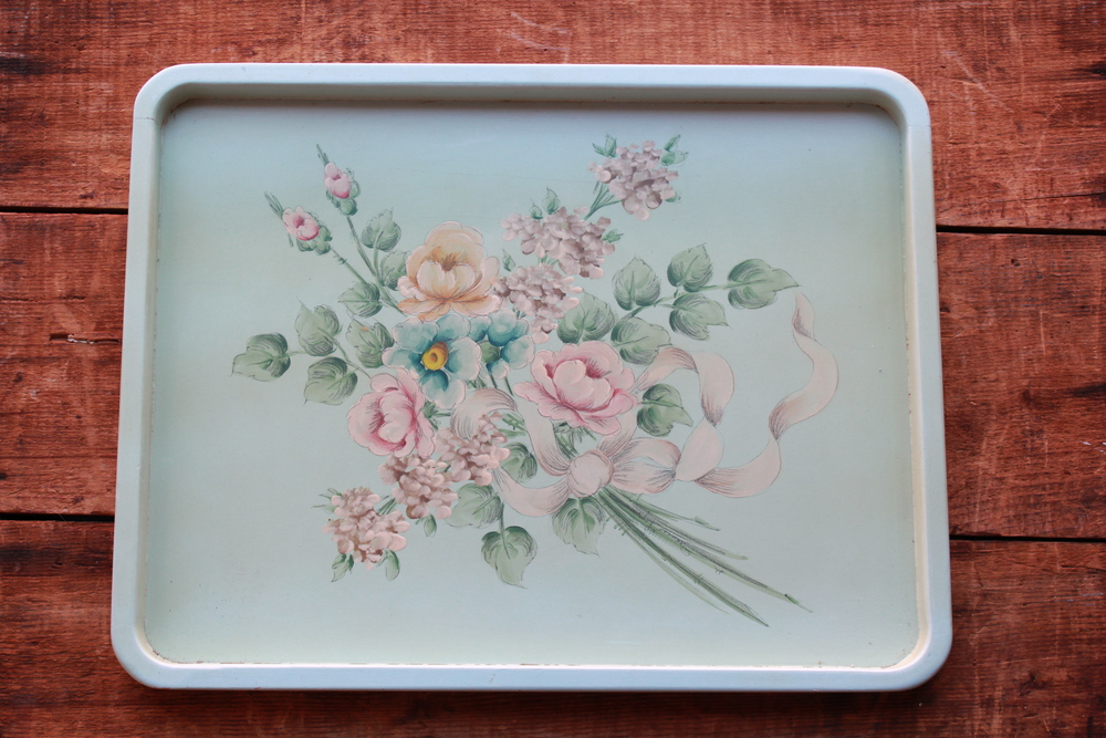 vintage flower tray