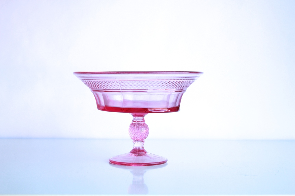 Pink Glass Compote