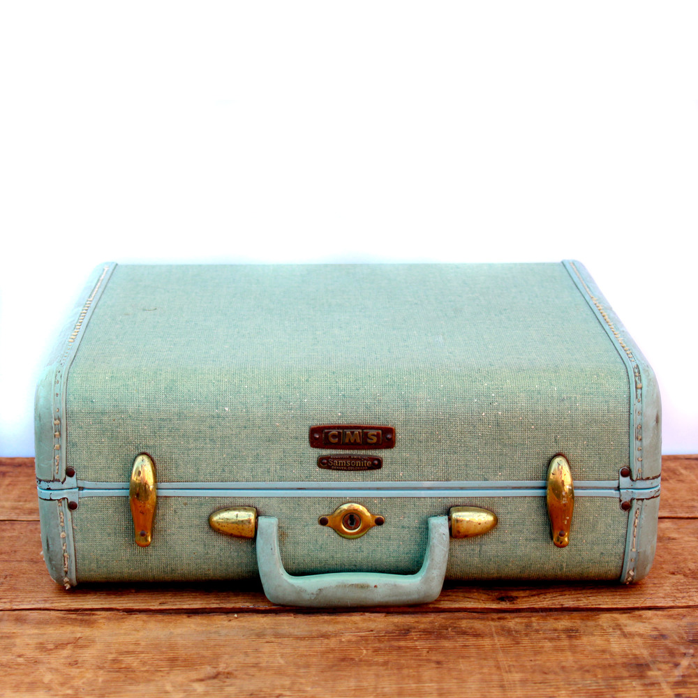 Vintage Small Light Green Suitcase