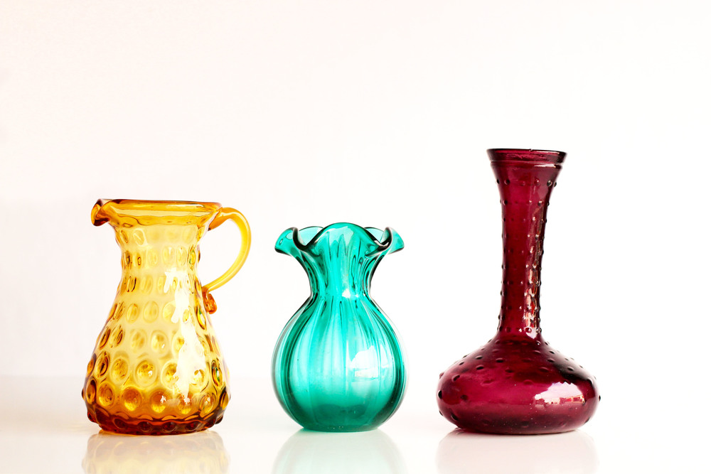 Small Colorful  Glass Vases