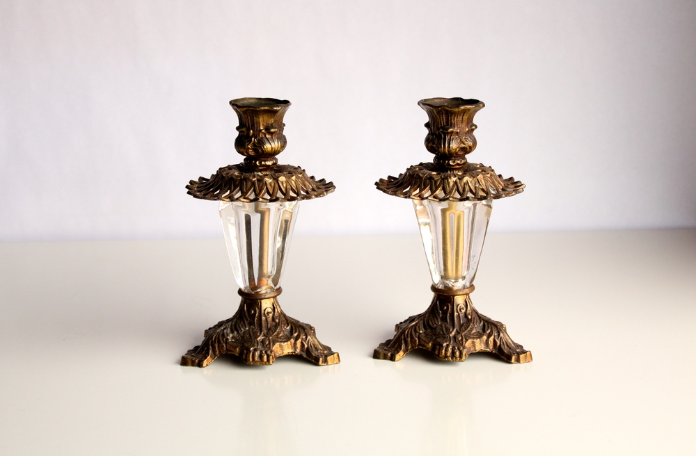 Clear Crystal and Brass Candlesticks